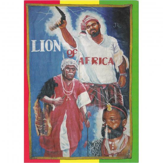 Filmposter Lion of Africa Oil on canvas, 151x102cm Artiest: J.A. Pastony Teshie, Ghana, 2002  collectie Mandy Elsas Prijs: € 0.50