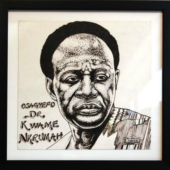 pentekening-  Heavy Jeaurs Originele pentekening, gemaakt door Heavy Jeaurs, Accra, Ghana, 2009. Voorstellende Osagyefo Kwame Nkrumah, gesigneerd en ingelijst. Prijs: € 69.50