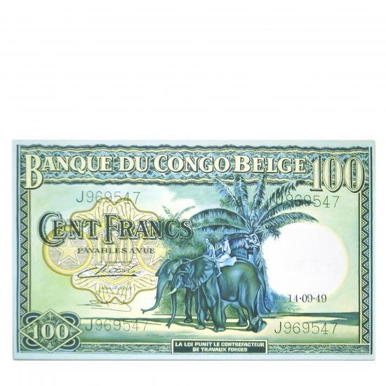 schilderij- Banque du Congo Een handgeschilderd bankbiljet van de 'Banque Du Congo Belge'. +/- 110 x 90 cm Prijs: € 250.00