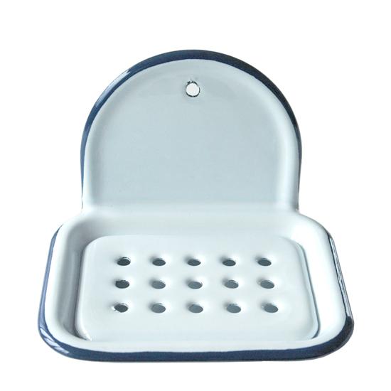 zeepbakje (hangend) wit met blauwe rand  Prijs: € 17.50
