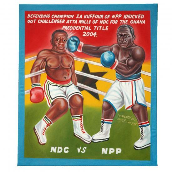 schilderij- voorbeeld titel: NDC vs. NPP artiest: BAPS Ghana, 2005 Prijs: € 250.00