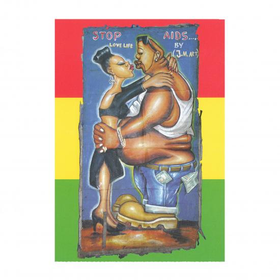 Stop Aids Artiest: J.M. Art Tema, Ghana, ca. 2000 Oil on canvas, 155x80cm collectie Mandy Elsas  Prijs: € 0.50