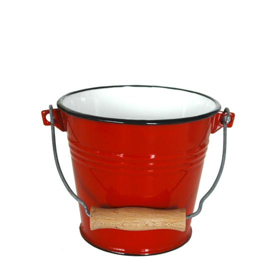 emmer rood- 1 liter Ø 15 cm hoogte: 13 cm Prijs: € 11.50