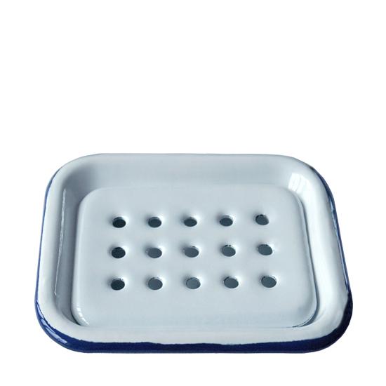 zeepbakje wit met blauwe rand  Prijs: € 14.50